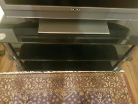 Large glass tv stand black very nice excellent condition