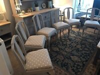 Six splat back dining chairs