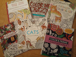 Set of 6 Adult Coloring Books - New, never used.