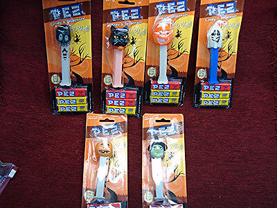 2006 HALLOWEEN - 6 DIFFERENT PEZ DISPENSERS & CANDY - NEW IN - Halloween 6 Different