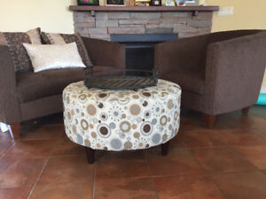 Love seat, chair and floor ottoman