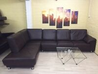 Long Brown Leather Corner Sofa