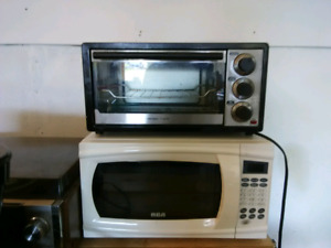 Toaster oven and microwave.