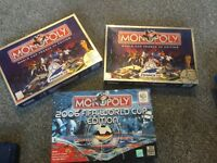 Three football monopoly games World Cup 98 & 06