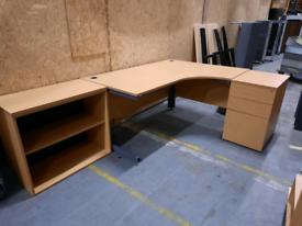 Office corner desk setup dark beech 160cm desk
