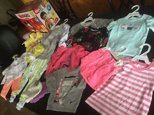 Baby girl clothes MULTI SIZES 9M -4T and size 3 Huggies Diapers