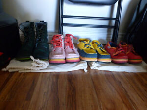 4 pairs of colourful women's shoes
