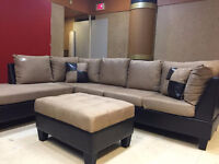 Liquidotion fabric sectional with ottoman
