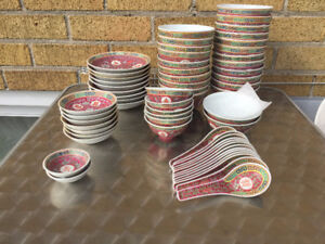 1970s Vintage Chinese bowls plates spoons cups