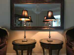 Bombay end table lamps with black shades