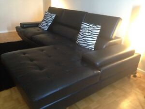 Modern Faux Leather Left-Facing Sectional