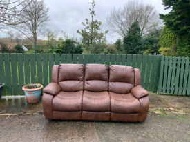 3 seater sofa in tan leather all reclining £125