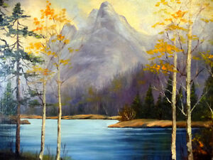 "Original Oil, Dorothy Hunter (Adams) ""Landscape with Mountains"" Stratford Kitchener Area image 4"