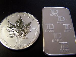 silver bullion bars -Maple leaf silver coins, Morgans or Peace