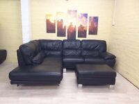 Stylish Black Leather Corner Sofa