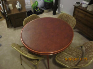 Round Padded Folding Table and 4 Folding Chairs