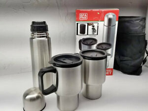 STAINLESS STEEL 2 Mugs and Thermos and a case