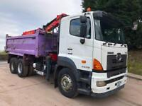 2010 10 HINO 2838 6x4 steel tipper Epsilon E120L crane and grab, drawbar spec