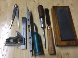 """Stone, Chisel, Driver, 6"""" Square, Level, Compass, Grease tool"""