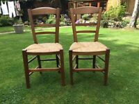 PAIR of rustic , rush seated Chairs
