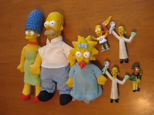 THE SIMPSONS 1990 PLUSH HOMER AND MARGE PLUS SOME PVC FIGURES