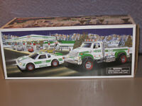 HESS Gasoline & Oil Plastic Truck & Race Car Lighted with Pull