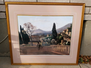 Art print in glass with frame. Corot. Name sign