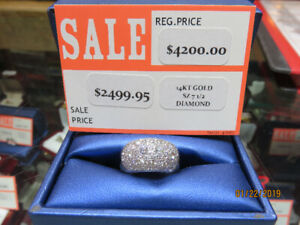 14KT Yellow & White Gold Diamond Dome Shape Ladies Ring - $1999.