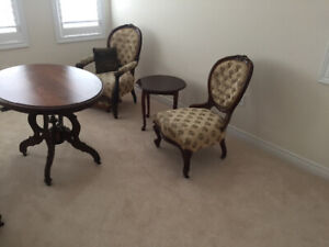 Antique table, couch and chair set