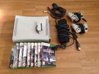 XBOX 360 + 2 Controllers and 9 games includes Wireless Adapter