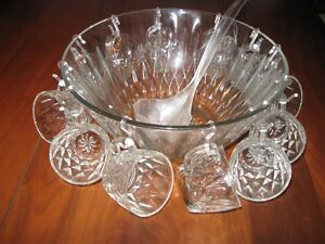 large cut glass punch bowl and 12 cups & hooks