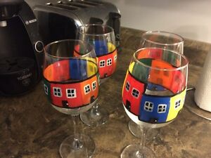 Row house hand painted glasses
