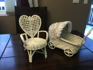 Wicker buggy & chair