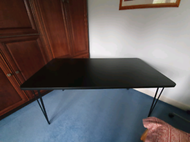 Large Black Desk/Table With Hairpin Legs