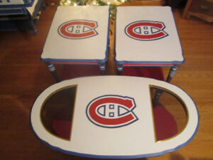 Custom painted Montreal Canadiens Coffee and Two End Tables