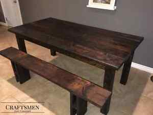 Rustic Espresso Dining Table and Bench