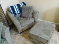 Sage green microsuede chair and ottoman