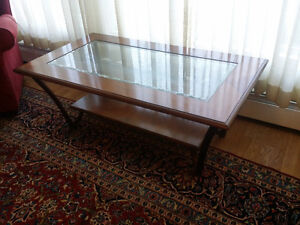 modern large glass table with wood
