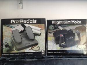 Flight sim yoke and Pro pedals