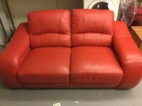 Red leather 2 seater sofa for sale