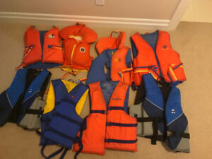 Life jackets - 8 of various sizes