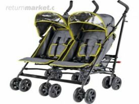 BabyStart Twin Pushchair forward facing, in excellent condition. Complete with rain canopies.