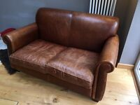Small 2 Seater Laura Ashley Leather Sofa