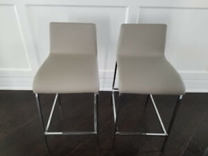 Brand New Gluckstein Bar Stools (Dove Grey Faux Leather)