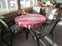 Patio set- 4chairs and table weth umbrella