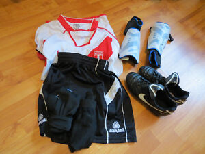 5-7ys boys soccer shoe(size 2) and shin guards and shorts and Ts