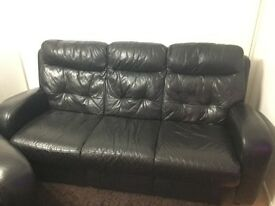 Black Leather Sofa, Electric Recliner Chair and Storage Footstool.