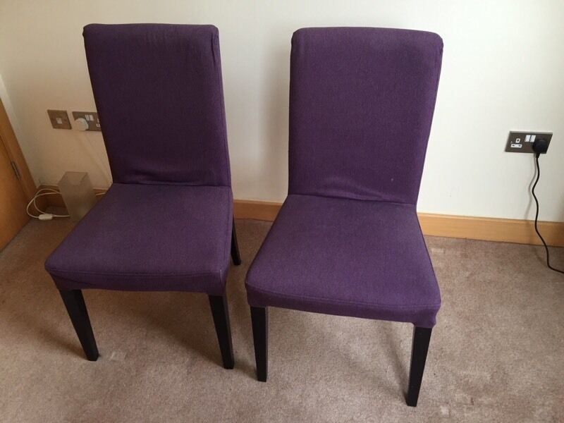 2 x ikea henriksdal chairs in brown black with purple covers in