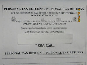 Personal Tax Returns & Book Keeping by a CA/CPA/CGA