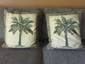 Florida/Palm Tree Accent Pillows, feather filled 22 x 20